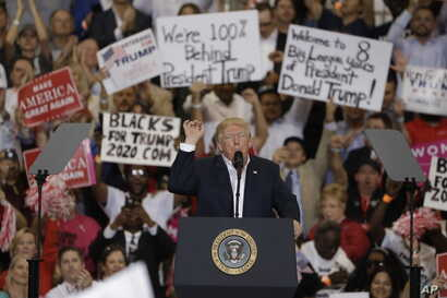 President Donald Trump speaks during a campaign rally in Melbourne, Florida, Feb. 18, 2017.