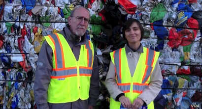 Paul Tasner and Elena Olivari make a pitch to investors standing in front of a mountain of plastic trash