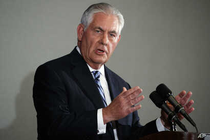 Secretary of State Rex Tillerson speaks at a press briefing during the United Nations General Assembly, Sept. 20, 2017, in New York. Tillerson attended the highest-level meeting between U.S. and Iranian officials since the start of the Trump administ...