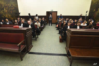 A general view of the courtroom prior to the trial of Salah Abdeslam at the Brussels Justice Palace in Brussels on Monday, Feb. 5, 2018. Salah Abdeslam and Soufiane Ayari face trial for taking part in a shooting incident in Vorst, Belgium on March 15...