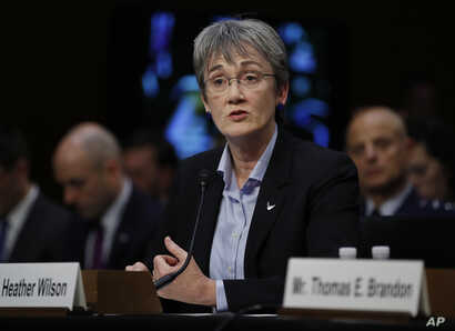 FILE - U.S. Air Force Secretary Heather Wilson testifies during a Senate Judiciary Committee hearing on Capitol Hill in Washington, Dec. 6, 2017.