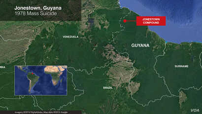 Map of Jonestown, Guyana (VOA/Mark Sandeen)