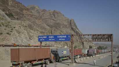 Trucks carrying containers stand idle at the closed Torkham border crossing between Pakistan and Afghanistan. The closure of border crossings has further raised tensions between the two neighbors, which already have a history of mistrust toward one a