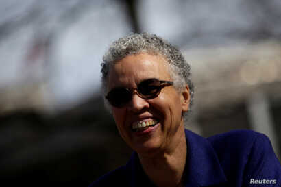 Chicago mayoral candidate Toni Preckwinkle leaves a polling place after voting during a runoff election for mayor against Lori Lightfoot in Chicago, Illinois, April 2, 2019.