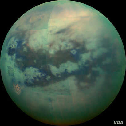 An image of Saturn's moon Titan taken by the Cassini spacecraft. Courtesy NASA