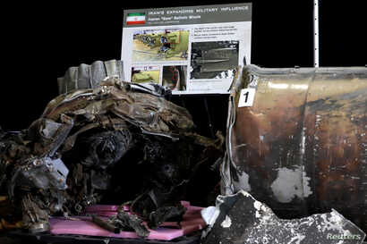 """Remains of Iranian """"Qiam"""" ballistic missile provided by the Pentagon are on display before U.S. Ambassador to the United Nations Nikki Haley briefs the media on highlights of the U.N.'s 2231 Implementation Report at Joint Base Anacostia-Bolling in Wa..."""