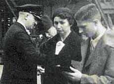 Max Ebel, far right, boarding the SS New York in May 1937, bound for New York City.