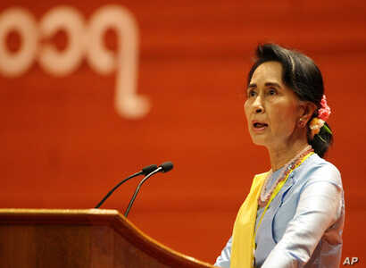 Myanmar's State Counsellor Aung San Suu Kyi speaks during the opening ceremony of the second session of the 21st Century Panglong Union Peace Conference at the Myanmar International Convention Centre in Naypyitaw, Myanmar, May 24, 2017.