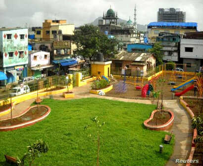 A handout photo shows a view of Lotus Garden, that was redesigned by residents who desired a clean and safe space for their recreational use, one of a handful of projects featuring community involvement in Mumbai, India.