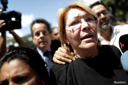 Venezuela's chief prosecutor Luisa Ortega Diaz is seen in front of the public prosecutor's office in Caracas, Venezuela, Aug. 5, 2017.