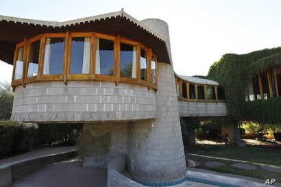 This Oct. 19 2012 file photo shows a home that architect Frank Lloyd Wright designed for his son in Phoenix, Arizona, Oct. 19, 2012.