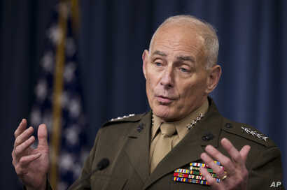 FILE -  Gen. John Kelly speaks to reporters during a briefing at the Pentagon.