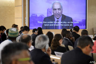 United Nations Special Rapporteur on Palestine, Michael Lynk delivers a video message on May 18, 2018 in Geneva, during a special session of the UN Human Rights Council.