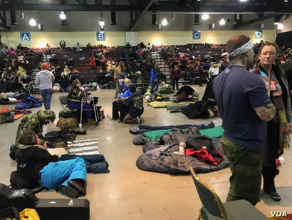 """Veterans and """"water protectors"""" from the Oceti Sakowin camp have been taking shelter in the nearby Prairie Knights Casino and Resort as a blizzard rages through North Dakota, Dec. 6, 2016. (Credit: D.  Beckmann)"""