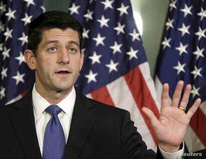 FILE - U.S. House Speaker Paul Ryan has called for a 'pause' in resettling Syrian refugees into the United States, fearing terrorist infiltration.
