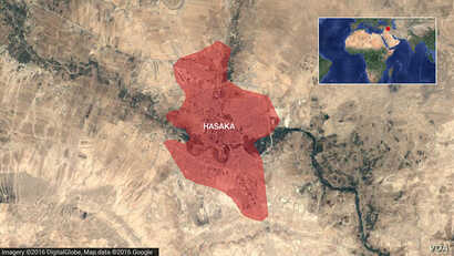 Map of Hasaka, Syria