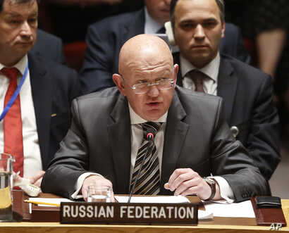 Russia's United Nations Ambassador Vasily Nebenzya address the U.N. Security meeting, Sept. 6, 2018 at U.N. headquarters.