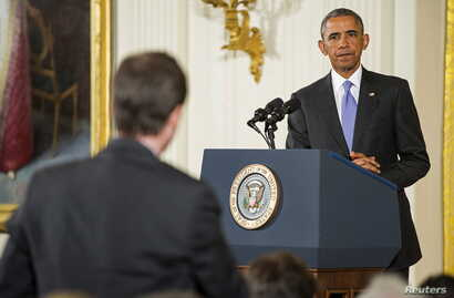 U.S. President Barack Obama takes a question during a news conference about the recent nuclear deal reached with Iran, in the East Room of the White House in Washington, July 15, 2015.