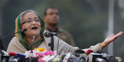 Bangladesh's Prime Minister Sheikh Hasina speaks during a press conference after her Awami League won elections, Dhaka, Jan. 6, 2014.