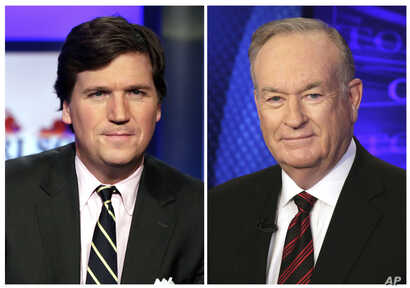 """FILE - In this combination photo, Tucker Carlson, host of """"Tucker Carlson Tonight,"""" appears on the set, March 2, 2107, left, and Fox News personality Bill O'Reilly appears on the set of his show, """"The O'Reilly Factor"""" on Oct. 1, 2015. Five days after..."""