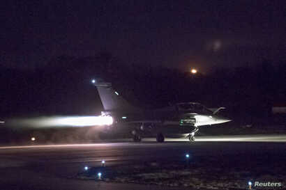 A plane preparing to take off as part of the joint airstrike operation by the British, French and U.S. militaries in Syria, in this picture obtained on April 14, 2018 via social media.