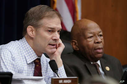 Rep. Jim Jordan of Ohio, the House Oversight and Reform Committee ranking Republican, left, and Chairman Elijah Cummings (Democrat-Maryland), right, are seen during a committee hearing on Capitol Hill in Washington, Feb. 26, 2019.