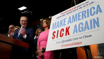 Senate Democratic Leader Chuck Schumer and House Democratic Leader Nancy Pelosi speak following a meeting with U.S.President Barack Obama on congressional Republicans' effort to repeal the Affordable Care Act on Capitol Hill in Washington, Jan. 4, 20...