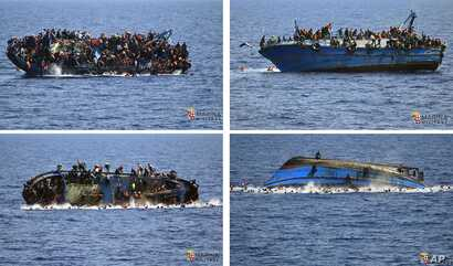 FILE - In this four-picture combo a boat overturns as people try to jump in the water off the Libyan coast on May 25, 2016.