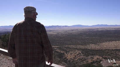 Glenn Spencer's Cochise County, Arizona ranch is roughly a football field away from the rust metal barrier that separates the United States and Mexico. (R. Taylor/VOA)