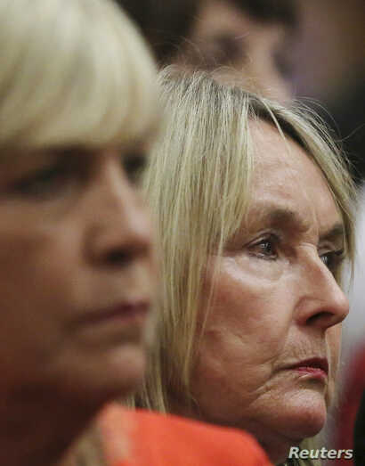 June Steenkamp, mother of Reeva Steenkamp, looks on during the murder trial of Oscar Pistorius at the high court in Pretoria, April 7, 2014.