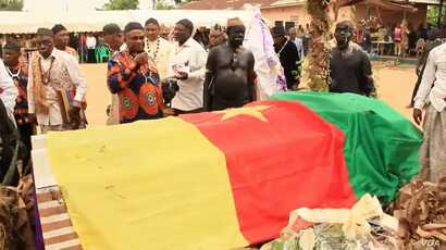 Funeral service for the chief of the Ballong people in Ballong, southwestern Cameroon, March 8, 2018. (M Edwin Kindzeka/VOA