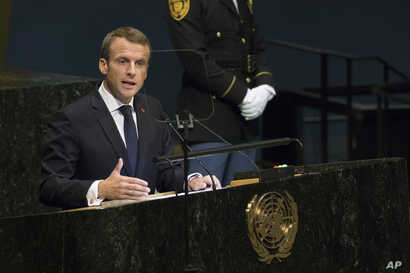 French President Emmanuel Macron addresses the 73rd session of the United Nations General Assembly, Sept. 25, 2018 at U.N. headquarters.