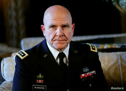 Newly named National Security Adviser Army Lt. Gen. H.R. McMaster listens as U.S. President Donald Trump makes the announcement at his Mar-a-Lago estate in Palm Beach, Florida, February 20, 2017.