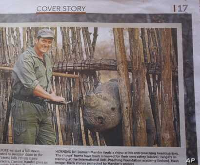 Mander's rhino-saving exploits have made the news around the world, including this report in a South African newspaper