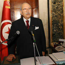 New Tunisian President Foued Mebazaa swears-in at the Tunisian Asssembly in Tunis, 15 Jan 2011