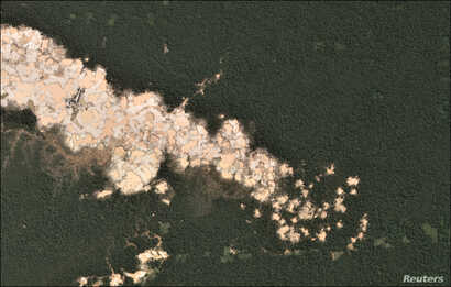 Gold mining deforestation is seen from a satellite image in the southern Amazon region of Madre de Dios, Peru. This is an undated handout photo provided by Matt Finer, obtained by Reuters June 21, 2018.