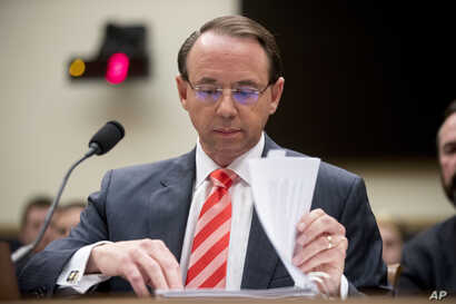 FILE - Deputy Attorney General Rod Rosenstein appears before a House Judiciary Committee hearing on Capitol Hill in Washington, June 28, 2018.