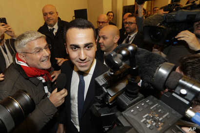 5-Stars Movement's leader Luigi Di Maio arrives for a press conference on the preliminary election results, in Rome, Monday, March 5, 2018.