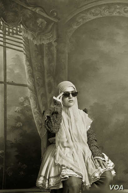 """Shadi Ghadirian, Untitled, from the series """"Qajar,"""" 1998, Gelatin silver print, 15 3/4 x 11 7/8 in.; Museum of Fine Arts, Boston; Horace W. Goldsmith Fund for Photography and Abbott Lawrence Fund, 2013.571 (© Shadi Ghadirian; Photo © 2015 Museu..."""