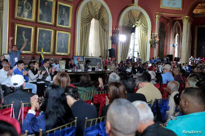 A general view of the Venezuela's National Constituent Assembly during a session at Palacio Federal Legislativo in Caracas, Aug. 5, 2017.