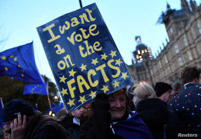 An anti-Brexit protester holds up a sign outside the Houses of Parliament in London, Britain, March 14, 2019.