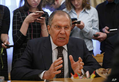 Russian Foreign Minister Sergey Lavrov gestures during a meeting with South Korean head of National Security Chung Eui-yong at the Russian foreign ministry in Moscow,Tuesday March 13, 2018.