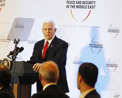 U.S. Vice President Mike Pence speaks at a conference on Peace and Security in the Middle East, in Warsaw, Poland, Feb. 14, 2019.
