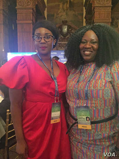 Participants Frances Udukwu (L), Miss Africa USA and founder of The Lead Girl Foundation, and Omolola Adele-Oso, co-founder and executive director of Act4Accountability are seen at the U.S.-Africa Business Forum in New York, Sept. 21, 2016. (C. Saine...