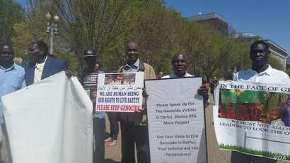 Demonstrations — including this march outside the White House on April 16, 2016 — were held because people in Darfur are dying and the Obama administration is doing nothing about it, said the organizer of the protest. (N. Taha/VOA)
