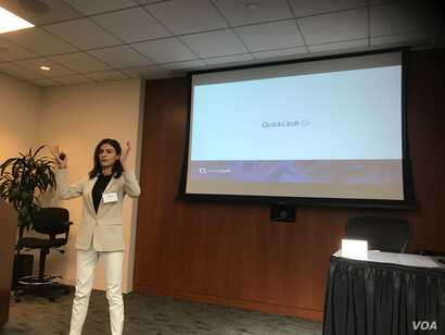Eight companies from the country of Georgia took part at a startup bootcamp in Silicon Valley recently, QuickCash CEO Mariam Rusishvili represented her company. (MQuinn/VOA)