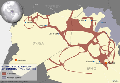 Islamic State areas of control, Sept. 10, 2014