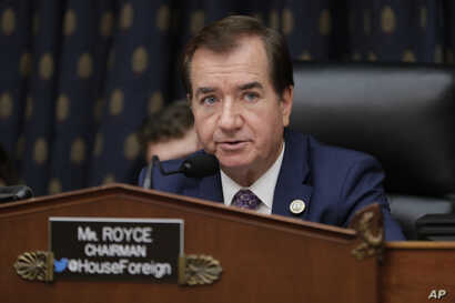House Foreign Affairs Committee Chairman Ed Royce, R-Calif., presides over a markup of a bill to expand sanctions against Iran with respect to its ballistic missile program, on Capitol Hill in Washington, Thursday, Oct. 12, 2017.