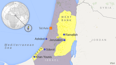Map of Israel, Gaza and the West Bank