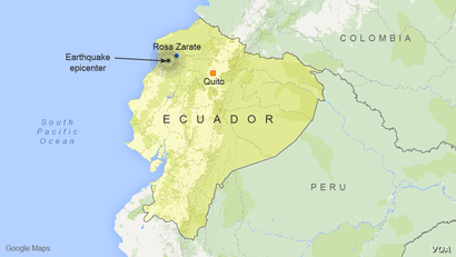 Earthquake epicenter, near Rosa Zarate, Ecuador